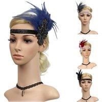 Fascinators With Feather For Women Elegant Vintage Rhinestone Beaded Headpiece Ladies 1920s Party Feather Flapper Retro Headband