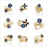 Bandringe der bunten Mode Kristall Vergoldet Schildkröte Perle Verstellbare Trommel Email Große Schmuckblume Hawaiianer Ring für Frauen