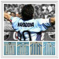 Retro Argentinien Jersey 86 78 98 06 Diego Maradona Ortega Hemd Fußball Fußball Messi Batistuta Crespo Riquelme Caniggia Kempes Hot Classic