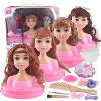 Niños Muñecas Maquillaje Peine Pein Toy Doll Set Pretend Play Princess Set Dolls Makeup Kit Juguetes para niñas Vestido Cosmetic Girl Regalos LJ201009