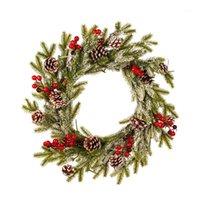 Dekorative Blumen Kränze Weihnachten Girlande Kiefer Kegel Rot Obst Kranz Romantische Dekoration Weißer Beflockung Anhänger mit Frostverzierungen1