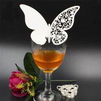 Tarjetas de mariposa de papel hueco blanco Decoraciones de boda Card Party Hotel Home Rojo Vino Tarjetas de Champagne Venta caliente 0 2JG G2