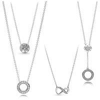 925 الفضة الاسترليني تألق إنفينيتي كولير مع قلادة كريستال للنساء حفل زفاف الأزياء والمجوهرات