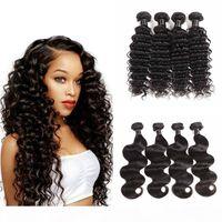 8A Brasilianisches Deep Wave Hair Bündel Angebote Natürliche Farbe Günstige 4 Bundles Brazillian Body Wave Jungfrau Menschliche Haarverlängerungen Kein Tangle