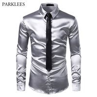 2pcs Silk Silk Shirt + Tie Mens Satin Smooth Tuxedo Camicie Casual Button Down Men Dress Shirts Wedding Party Prom Chemise Homme 201120