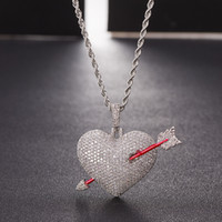 Iced out Arrow Heart Pendant Necklace With Rope Chain Gold C...