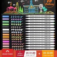 Metalik Marker Kalemler 15 Renk Yumuşak Fırça Ucu Sanat Işaretleyiciler Sheen Glitter Boyama Kalem Kart Yapımı DIY Fotoğraf Albümü Hurda Rezervasyon 210226