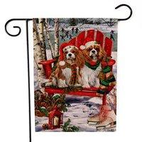 Dois lados bandeira de jardim Imprimindo boneco de neve pequeno cão padrão bandeiras estilo natal multi cores bandeira nova chegada 6kx l1