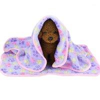Katze Hund Bett Matten Weiche Flanell Fleece Fuß Drucken Warme Haustierdecke Schlafbetten Abdeckmatte Für kleine mittelgroße Hunde Katzen1