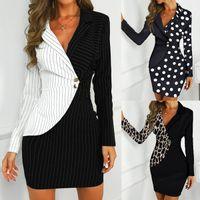 Vestido otoño mujer oficina señora sexy leopardo impresión girar abajo cuello manga larga botones bodycon trabajo formal vestido formal