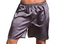 Casual Solta Solk Silk Silk Pijama Shorts Verão Sleepwear Soft Boxer Underwear Pijama Sexy Nightwear Cabeca Pijama Homme