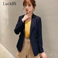 Luckbn blazerjacke frauen zwei taschen massiv farbe mantel tops einzeln button lose oberbekleidung neu mode schlanke weibliche büro anzug1