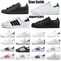 Klasik OG Stan Smith Superstars Erkek Rahat Ayakkabılar Üçlü Siyah Beyaz Yeşil Platformu Superstars Kadın Deri Düz Eğitmenler Açık Sneakers