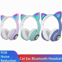 Cat Ear Bluetooth Headset Noise Reduction Cute Style RGB Lum...