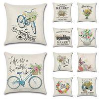 45 * 45 cm Primavera Agriturismo Tema Cuscino Cover Flower Bicycle Bicycle Stampato Lenzuola Throw Pillow Case Divano Auto Decorative Fodera Decorazioni per la casa