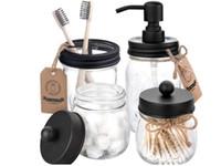 Комплект аксессуаров для ванной комнаты 4 шт. SOAP Dispenser 2 Apotchary JARS Держатель зубной щетки - Деревенский Декор