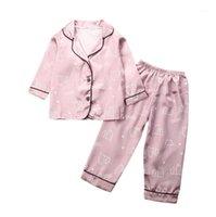 منامة الطفل بوي فتاة الملابس الحرير الحرير مجموعة الاطفال طويلة الأكمام النوم نوم outfit1