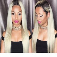 패션 유명인 # 1B 613 2 톤 몽골 처녀 머리 가발 인간의 머리 가발 금발 100 % 자연 머리 가발 여성을위한