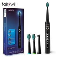 Fairywill Sonic Electric Toothbrush Rechargeable Timer Brush 5 Mode USB Charger Tooth Brushes Replacement 3 Brush Head Set Adult Y1117