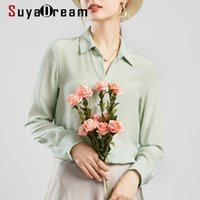 SuyaDream Mujeres Seda Blusas 100% Real Sileda Sólido Manguito de manga larga Botón Básico Oficina Blusa Camisa elegante camisa 201125