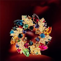 Cristal Rhinestone Redbud Flor Broche Pin Metal Novide Pin Handwal Bufanda Buckl Pins Accesorio