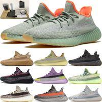 2021 Calidad Kanye West V2 Running Zapatillas para hombres Zapatos para mujer Ceniza Ash Pearl Fade Fade Static Reflective Trainers Sneakers Caja Accesorios