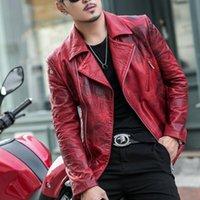 Men's Leather & Faux 2021 Luxury Sheepskin Jacket, Shorts, Motorcycle Wallet, Male Punk Designer, Red Coat