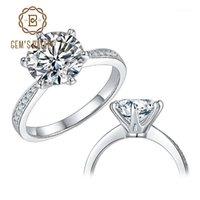Cluster Anéis Balé de Gema 925 Esterlina Prata Jóias 1CT 2CT 3CT Estilo Clássico Moissanite Diamond Anel Noivado de Casamento para Mulher1