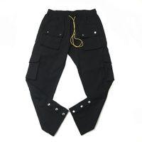 Черный нейлон Привязать штанах Сыпучие Fit Jogger Тренировочные штаны Восемь Карманы для укладки и стайлинга