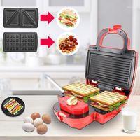 Ekmek Makineleri Sandviç Panini Waffle Makinesi Makinesi Wafer 3 in 1 Kabarcık Yumurta Kek Fırın Kahvaltı Elektrikli Waffle Makinesi
