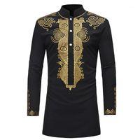 민족 의류 스탠드 칼라 이슬람 셔츠 남성 의류 민속 Kaftan Musulman 이슬람 국가 인쇄 긴 소매 셔츠 1