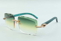 2021 أحدث نمط مبيعات مبيعات مباشرة تيل معابد خشبية نظارات 3524020، عدسة القطع النظارات الشمسية المتوسطة الماس، الحجم: 58-18-135mm