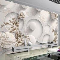 Carta da parati su ordinazione murale Fiore 3D stereoscopico geometrica Circle Ball Room Living Sofa TV Sfondo Photo Wall Paper Arte Moderna