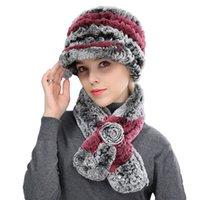 Женщины Real Rex Кролик Пика Кэпс Фокс Меховой шар, плетеный зимний шарф Теплые мягкие шляпы с красным элегантным