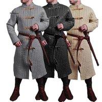 남자 양모 혼합 남자 스트랩 자켓 바이킹 전사 기사 의상 Doublet 가죽 갑옷 트렌치 AkeTON 복장 코트