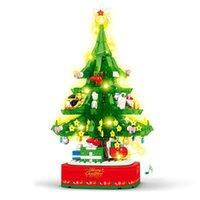 Рождественские украшения Серия Строительные Блоки Модель Создатель Музыслого дерева Вращающиеся с фигурами Огни звучит игрушки для детей Xmas CLH