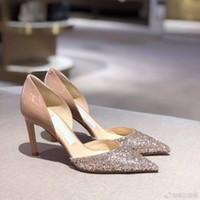Design de luxe pompes de luxe pompes glitter cuir pointu de fête mariée mariées chaussures élégantes femmes ouvertes talons hauts UE34-43.with box