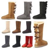 2021 Yeni Wgg Kadınlar Avustralya Klasik Kar Botları 3 Yay Kürk Boot Kestane Siyah Gri Çikolata Kız Uzun Boylu Çizmeler Boyutu 36-41 Moda Açık