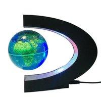 Yenilik C şekli LED Dünya Haritası Yüzer Küre Manyetik Levitasyon Işık Antigravity Sihirli / Roman Lamba Doğum Günü Ev Aralık Gece Lambası