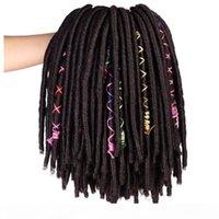 Häkeln Dreadlocks Haarverlängerungen 14 Zoll Synthetische Göttin Faux Locs Braids Black Brown Bug für Frauen