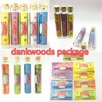 Dankwoods 패키지 튜브 120 * 21mm Pre 롤 포장 전자 담배 증기 빈 유리 튜브 나무 병 코르크 팁 카트리지 스티커 250pcs / lot