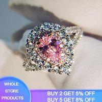 YANHUI Drop Shape Wedding Engagement Pink&White CZ Silver 925 Ring Size 5 6 7 8 9 10 Wholesale Romantic Nice Women Jewelry Gift1