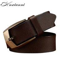 Femininos Anxianni Belt Vintage Pin Buckle vaca couro genuíno Cintos masculinos presente Designer Belt Jeans