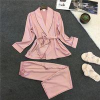 2019 салон с сонным сатинкой Sleewwurs Slik женщин Pajamas набор элегантных пижамов весна осень ночная одежда женская домашняя одежда ночные ночи y200708