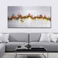 Arthyx de gran tamaño pintado a mano embarcaciones de pesca paisaje pinturas al óleo de paisaje abstracto lienzo arte de pared imagen para sala de estar Decoración del hogar1