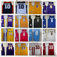 Barato al por mayor cosido jersey 8bryants 24byants top quality hombre 10bryants 33bryants negro blanco púrpura amarillo rojo jerseys
