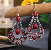 Bohemian Womens Haken Ohrringe Nationaler Stil Teardrop Gefälschte Edelstein Baumling Ohrringe Hängen Ohrringe Vintage Womens Schmuck