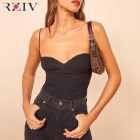 Rziv Sexy Spaghetti Slip Tanques e Camis Feminino Fashion Casual Black Tops Tanques Sólido Color Holiday Underwe1