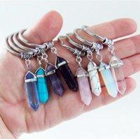 Chakra hexágono prisma piedra natural llavero llavero llavero cuelga la joyería de moda regalo gota