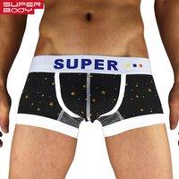 Yüksek Kaliteli Marka Superbody Yeni Yıldız Pamuk erkek Moda Iç Çamaşırı Boxer Şort Erkekler Düşük Bel U Dışbükey Penil Kılıfı Tasarım Boksörler